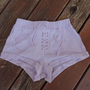 Purple Lace-Up Mid-Rise Shorts
